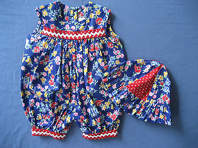 Infant baby girl clothes 6 month HAT Julie Tennant pants outfit onesie blue