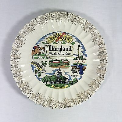 """Vintage MARYLAND THE OLD LINE STATE Souvenir Ceramic Collector Plate 10"""""""