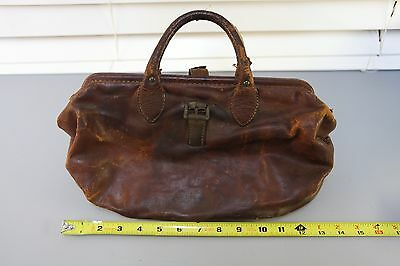 404s-Vintage / Antique Brown Doctors Bag Genuine leather- Union Made USA