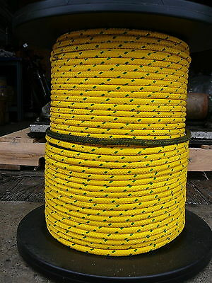 """Yellow Stable Braid Winch Line, Bull Rope   Coated Double Braid  3/8"""" x 95 ft"""