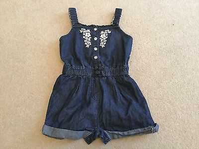 Baby girls Primark denim look cotton jump suit / playsuit size 18 - 24 months