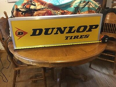 "Vintage Dunlop Tires 36"" Lighted Advertising Tire Sign Light Double Sided Nice"