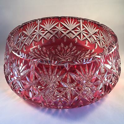 Stunning Cranberry Crystal Cut To Clear Large Fruit / Centre Bowl 2.4kilos