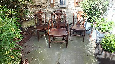 Set of 4 Georgian Mahogany Camel Back Country dining Chairs