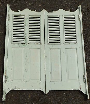 Antique Pair Louvered Saloon Bar Tavern Swing Doors Old Shabby Vtg Chic 230-17E