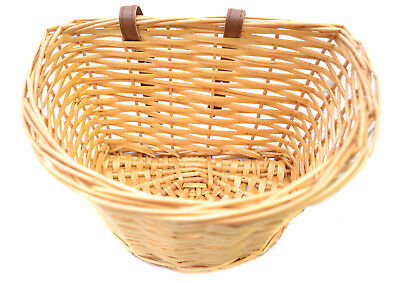 Vintage Small Wicker Bike Basket Brown Adjustable Straps Bicycle/Cycle/Shopping