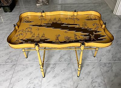 Vintage Italian Tole Coffee Tray Table Chinoiserie
