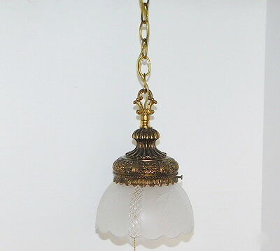 L&L WMC Vintage Deco Glass & Brass Metal Hanging Pendant Light Frosted Dasies