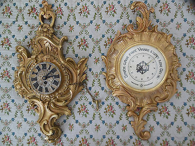 2-Pcs Antique Wall French Style Eng.clock+Fr. Barometer Bronze Louis Xv Xvi Sm.
