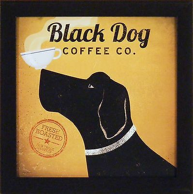 BLACK DOG COFFEE CO by Ryan Fowler 15x15 FRAMED PRINT Lab Sign Ad PICTURE