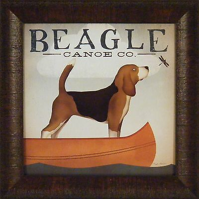BEAGLE CANOE CO by Ryan Fowler 15x15 FRAMED PRINT Lake Boat Dog Ad Sign PICTURE