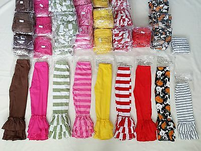 Girls wholesale NEW triple ruffle pants lot huge boutique multi-color 106 pairs