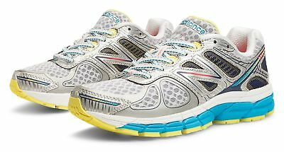 New Balance Womens 860v4 Stability Running Shoes White with Blue & Silver