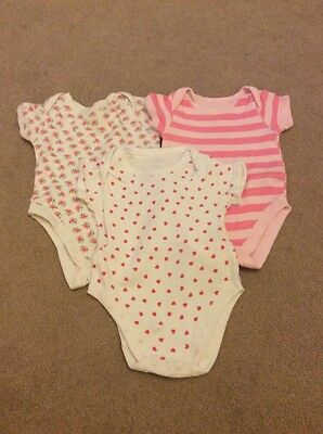 Baby Girls Age 0-3 Months Pink & White Short Sleeve Bodysuits (3 Pack)