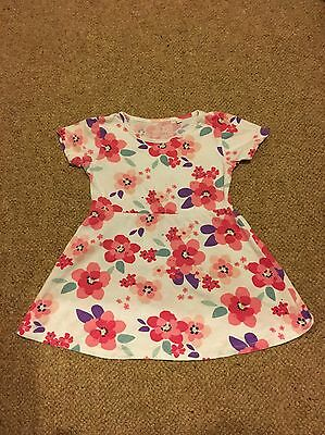 Girls White Floral Dress Age 18-24 Months