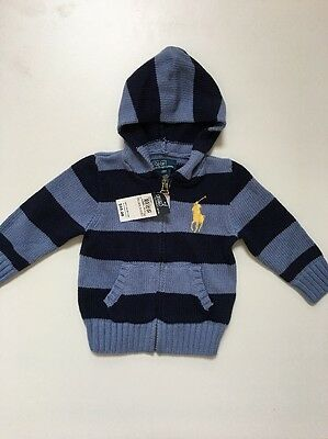 NWT Polo By Ralph Lauren Baby's Knit Zip Front Hoodie Jacket Size 18M(12M)