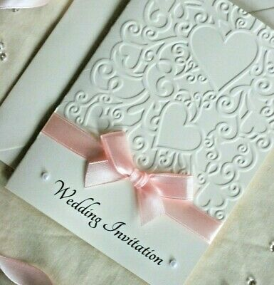 Wedding Evening Invitations, Embossed, diamante/pearls, H(d), PERSONALISED