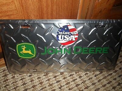 John Deere Diamond Pattern Embossed Metal License Plate -New Sealed