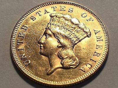 1878 $3.00 Indian Princess Gold Piece * Choice BU with Good Mint Luster