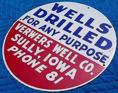 NOS Vintage 30s WELL DRILLING SIGN original metal tin water oil 2-digit ph no.!