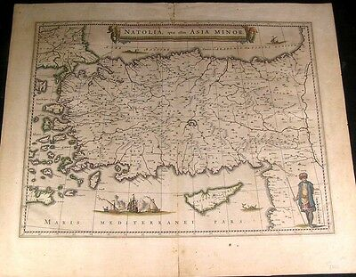Turkey Ottoman Empire Archipelago Cyprus 1663 Blaeu fine antique color map
