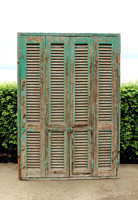 Antique Shutters with Windows - French - Original Condition - Large - Cedar