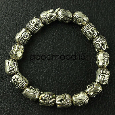 Chinese collection old Tibetan silver amulet Guanyin Bracelet XJQ13