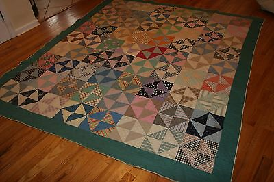 Antique Quilt Hand Stitched Early Fabrics large old  see details 75 x 83 Nice