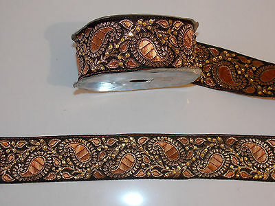 4cm tan gold paisley crystal embroidered ribbon applique trimming decor Indian