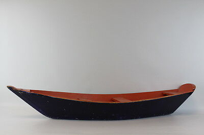 Antique 26 inch toy vintage small wooden pond boat--great colors and patina!