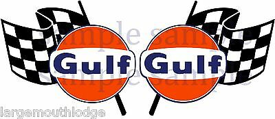 4 Inch Gulf Racing Checkered Flag Gasoline Oil Decal Sticker Left And Right