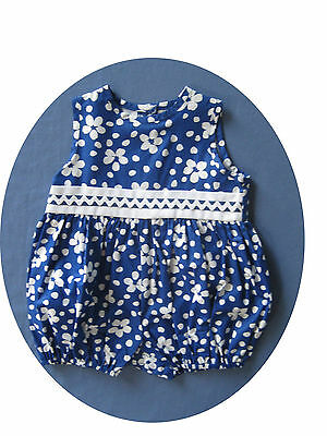 Infant baby girl clothes 24 months 1 piece Julie Tennant pants outfit blue daisy
