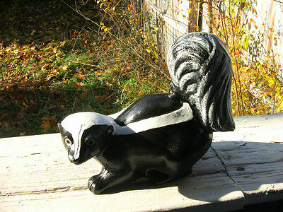 Black  Concrete Cement Skunk  Statue ...life Size .looks Real. .yard Garden Art