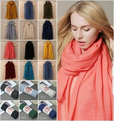 Autumn Ladies Cotton Scarves Plain Maxi Wrap Shawl Scarf Hijab Sarong Oversize