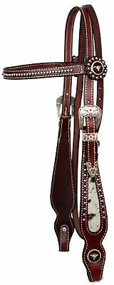 Showman Leather Bridle & Reins With Cowhide & Texas Longhorn Steer Conchos!