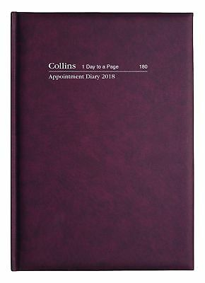Diary 2018 Collins Appointment A5 Burgundy Day to a Page 180.P78-18 22x15.5cm