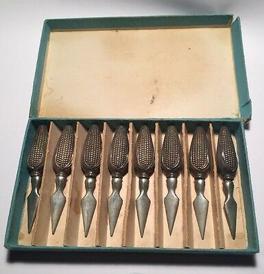 Vintage Set Of 8 Sterling 925 Ear Of Corn On The Cob Holders in Original Box