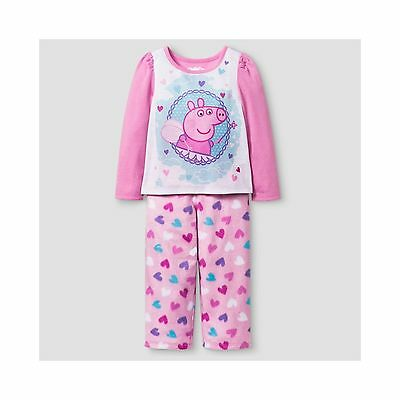 Toddler Girl's Peppa Pig Heart Pajamas-5T-2 Piece Set-Nwt!