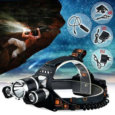 6000LM CREE XM-L T6 + 2R5 LED Headlamp Headlight Light 18650 Torch + Charger