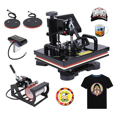 5In1 Digital Heat Press Transfer Machine Sublimation For T-Shirt/Mug/Plate/Hat