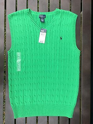 NWT Boys Youth POLO RALPH LAUREN Sweater Vest Cable Knit Kelly Green XL 18/20