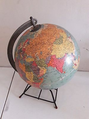 Vintage Replogle 10 Inch Reference Globe Chicago Wire hairpin base