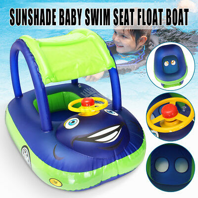 Inflatable Baby Kids Blue Sunshade Boat Float Seat Ring Car Swimming Pool Toy AU