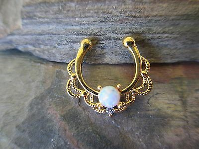 Gold IP Non-Piercing Faux Opal Septum Hanger Clip-On Fake Nose Ring-White