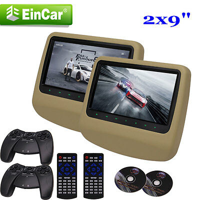 """2X Beige Dual-Screen Headrest 9"""" Car Journey Active Monitor DVD Player HDMI Game"""