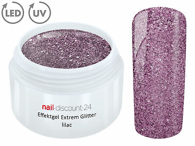 UV EXTREM GLITTER Effektgel FLIEDER 5ml Glitzer Color Farbgel Nailart Modellage