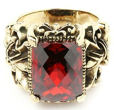 Details about  /BIG RED RUBY STERLING 925 SILVER RING GOTHIC FLEUR DE LIS KNIGHT JEWELRY