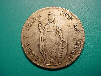 Peru~Silver 1854 4-Reales in Very Nice Condition!
