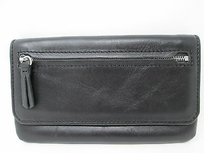 Eayrslee Leather Wallet Pouch - Neal Flap Case - Black - High Quality - RARE