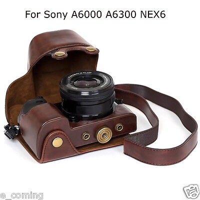 Leather Case Bag strap Case Protective Camera Pouch For Sony A6000 A6300 NEX6 US